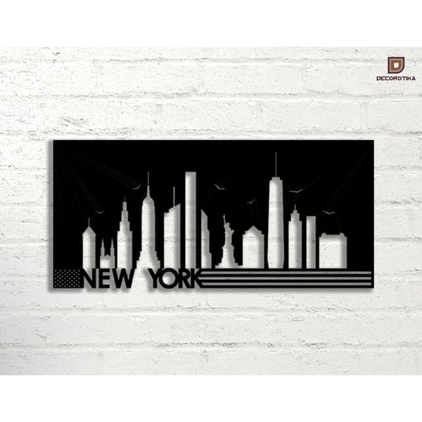 Shop New York Silhouette Black Metal Decorative Wall Art - On Sale ...