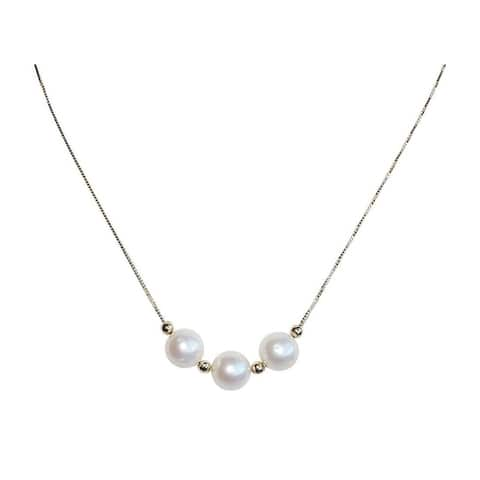 White Pearls on Gold Chain Necklace