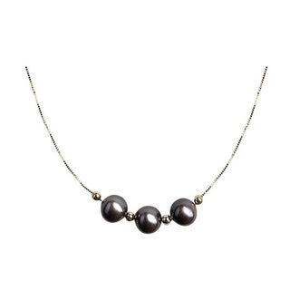 Black Pearls on Gold Chain Necklace