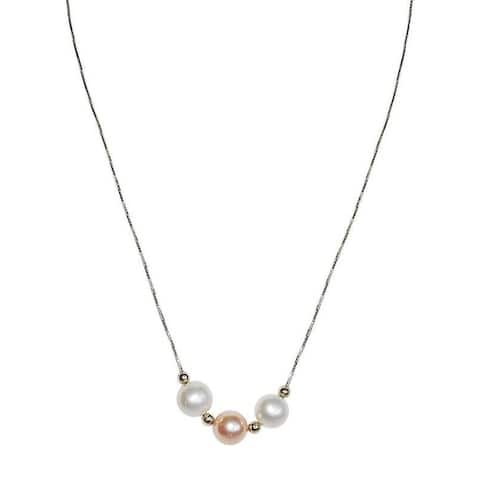 White and Pink Pearls on Gold Chain Necklace