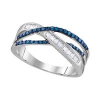 Sterling Silver Womens Round Blue Color Enhanced Diamond Crossover Fashion Ring 1/3 Cttw