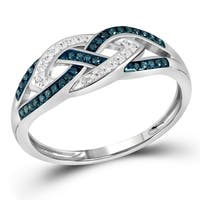 10kt White Gold Womens Round Blue Color Enhanced Diamond Crossover Band Ring 1/6 Cttw - Ring Size 7