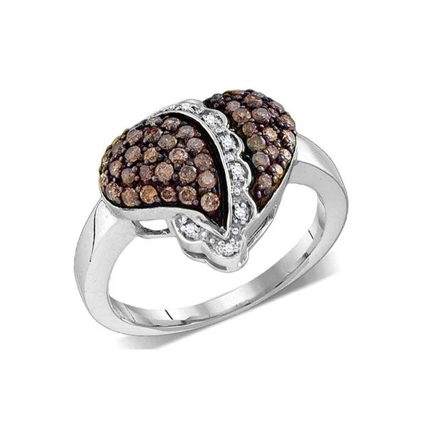 10kt White Gold Womens Round Cognac-brown Color Enhanced Diamond Heart Love  Ring 5/8 Cttw - Ring Size 7