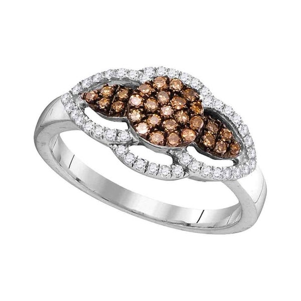 ee8aff3c11c754 Shop 10kt White Gold Womens Round Cognac-brown Color Enhanced Diamond  Cluster Ring 1/3 Cttw - Ring Size 7 - Free Shipping Today - Overstock -  22481262