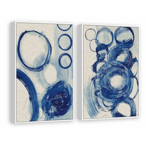 Painted Blue Circles II Diptych - Multi-color