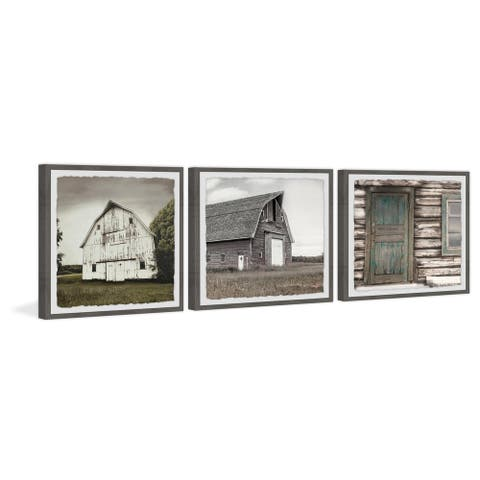 Marmont Hill - Handmade Barn Houses III Triptych - Multi-color