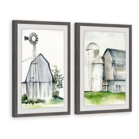 Marmont Hill - Handmade Watercolor Barn II Diptych - Multi-color