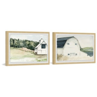 Marmont Hill - Handmade Watercolor Barn Diptych