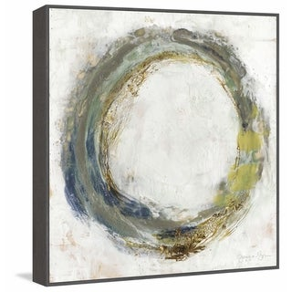 'Fluid Orbit II' Floater Framed Painting Print on Canvas - Multi-color