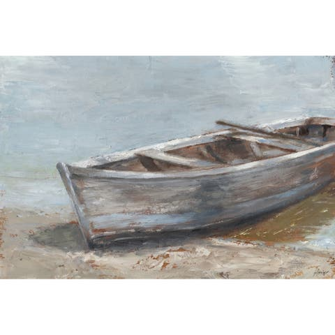 Marmont Hill - Handmade Whitewashed Boat II Print on Wrapped Canvas