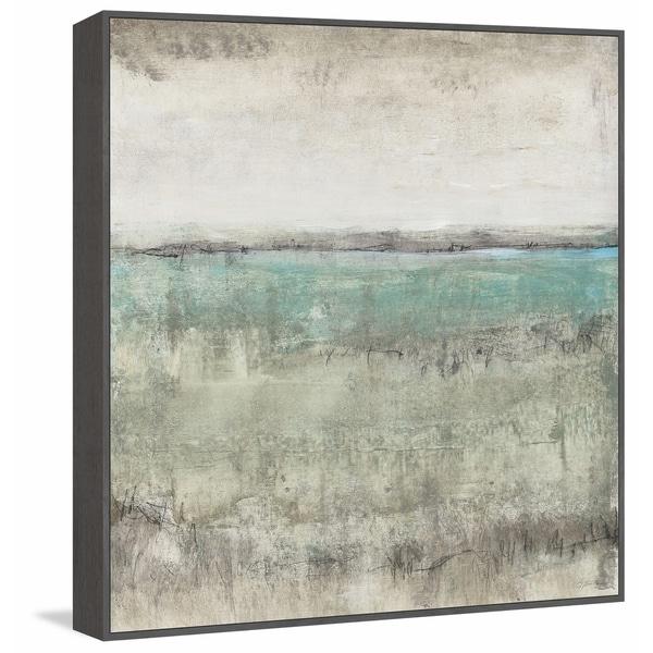 Marmont Hill - Handmade Aqua Horizon I Floater Framed Print on Canvas