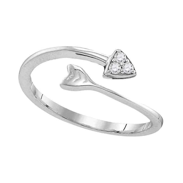 Sterling Silver Womens Round Diamond Bisected Arrow Band Ring 1/20 Cttw -  Ring Size 7