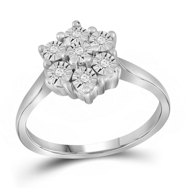 9f07f28356d Shop Sterling Silver Womens Round Diamond Illusion-set Flower ...