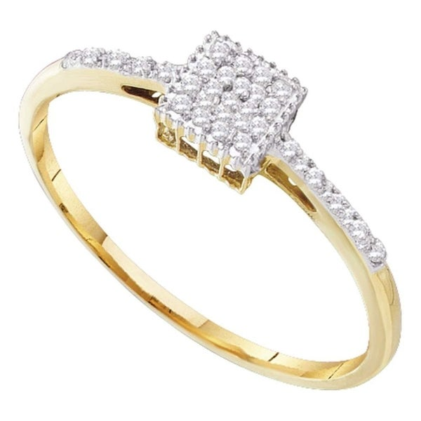 cd21f71831277e Shop 10kt Yellow Gold Womens Round Diamond Cluster Ring 1/12 Cttw - Ring  Size 7 - Free Shipping Today - Overstock - 22482557