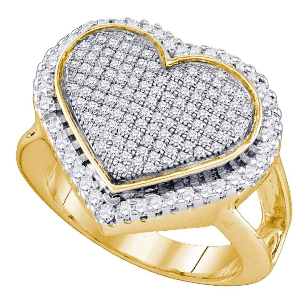 Yellow-tone Sterling Silver Round Diamond Heart Ring 0.15 Cttw Size 7