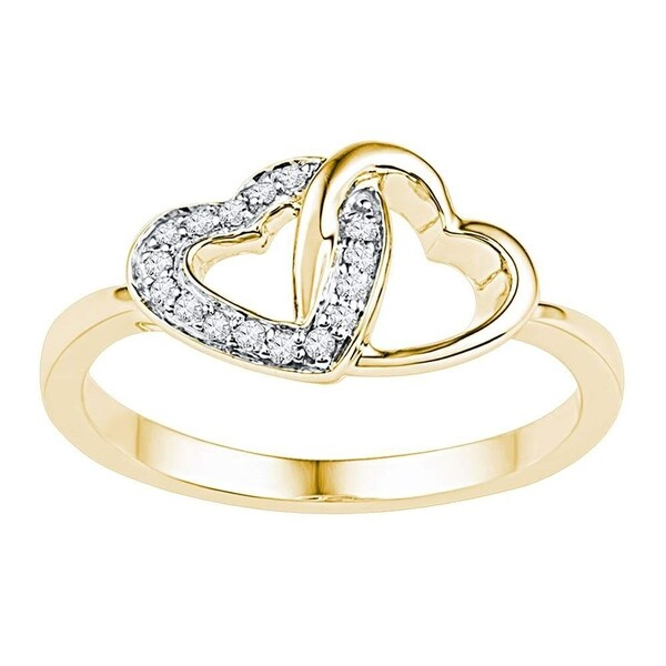 a1e622d23af Shop 10kt Yellow Gold Womens Round Diamond Double Locked Heart Ring 1 12  Cttw - Ring Size 7 - Free Shipping Today - Overstock - 22482766
