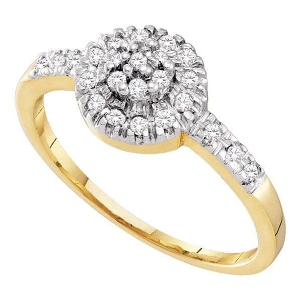 0ff4f34a5c40b4 Shop 10kt Yellow Gold Womens Round Diamond Cluster Ring 1/5 Cttw - Ring  Size 7 - Free Shipping Today - Overstock - 22482783