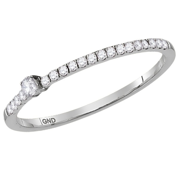 10k White Gold Womens Round Diamond Crossover Stackable Band Ring 1//20 Cttw