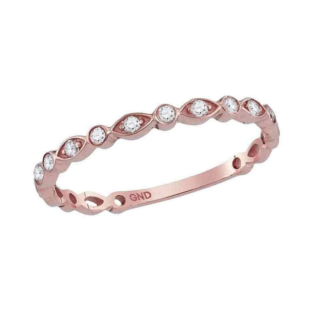 10k Rose Gold Womens Round Diamond Square Cluster Stackable Band Ring 1//8 Cttw