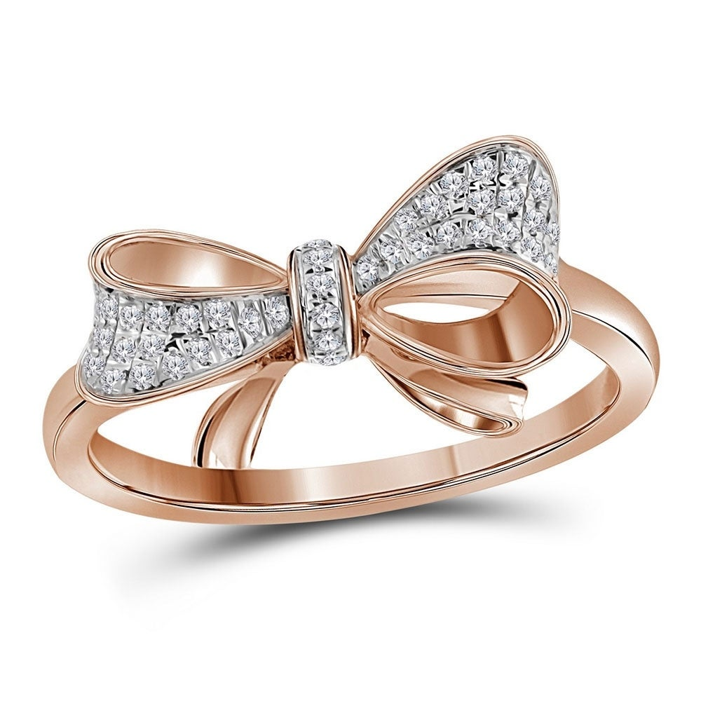10kt Rose Gold Womens Round Diamond Cluster Fashion Ring 1//12 Cttw
