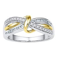 10kt White Two-tone Gold Womens Round Diamond Yellow Twist Strand Band 1/5 Cttw - Ring Size 7