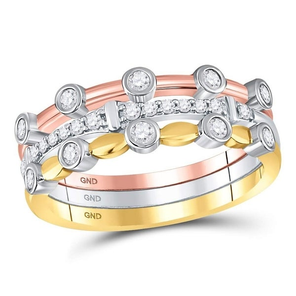 e1c038970c13c 10kt Tri-Tone Gold Womens Round Diamond 3-Piece Stackable Band Ring Set 1/3  Cttw - Ring Size 7