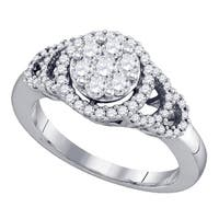 10kt White Gold Womens Round Diamond Cluster Ring 3/4 Cttw - Ring Size 7