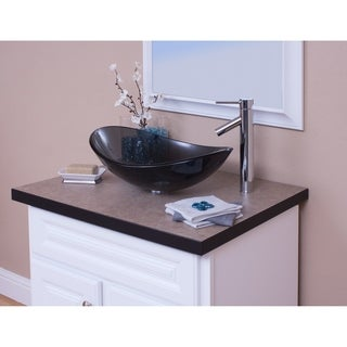 Topia Glass Vessel Sink with Chrome Faucet Combo Set