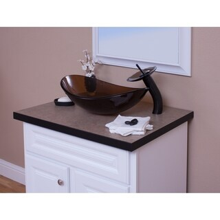 Topia Glass Vessel Sink with Oil Rubbed Bronze Faucet Combo Set
