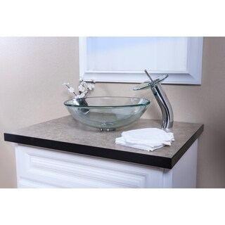 Topia Clear Glass Vessel Sink with Chrome Faucet Combo Set