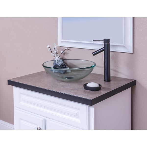 Shop Topia Clear Glass Vessel Sink With Oil Rubbed Bronze Faucet
