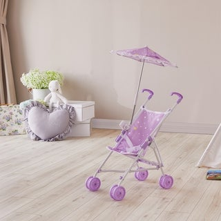 Olivia's Little World -Doll Stroller with Parasol - Purple / Stars