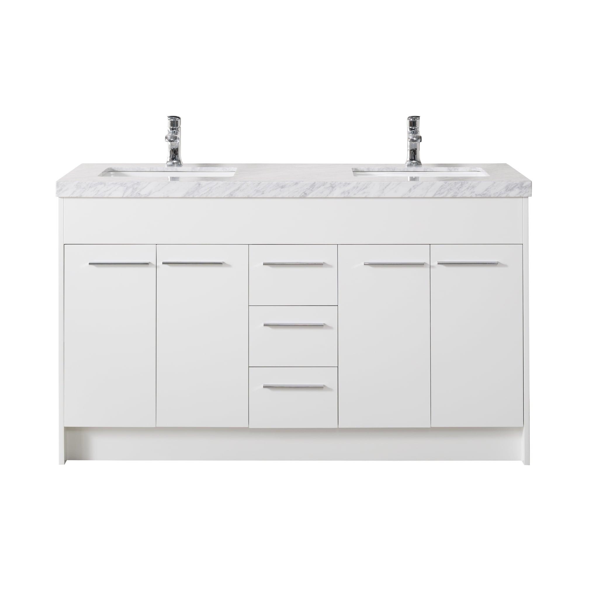 Stufurhome Lotus 60 Inch White Double Sink Bathroom Vanity