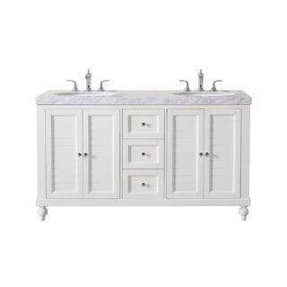 Stufurhome Kent 60 Inch White Double Sink Bathroom Vanity