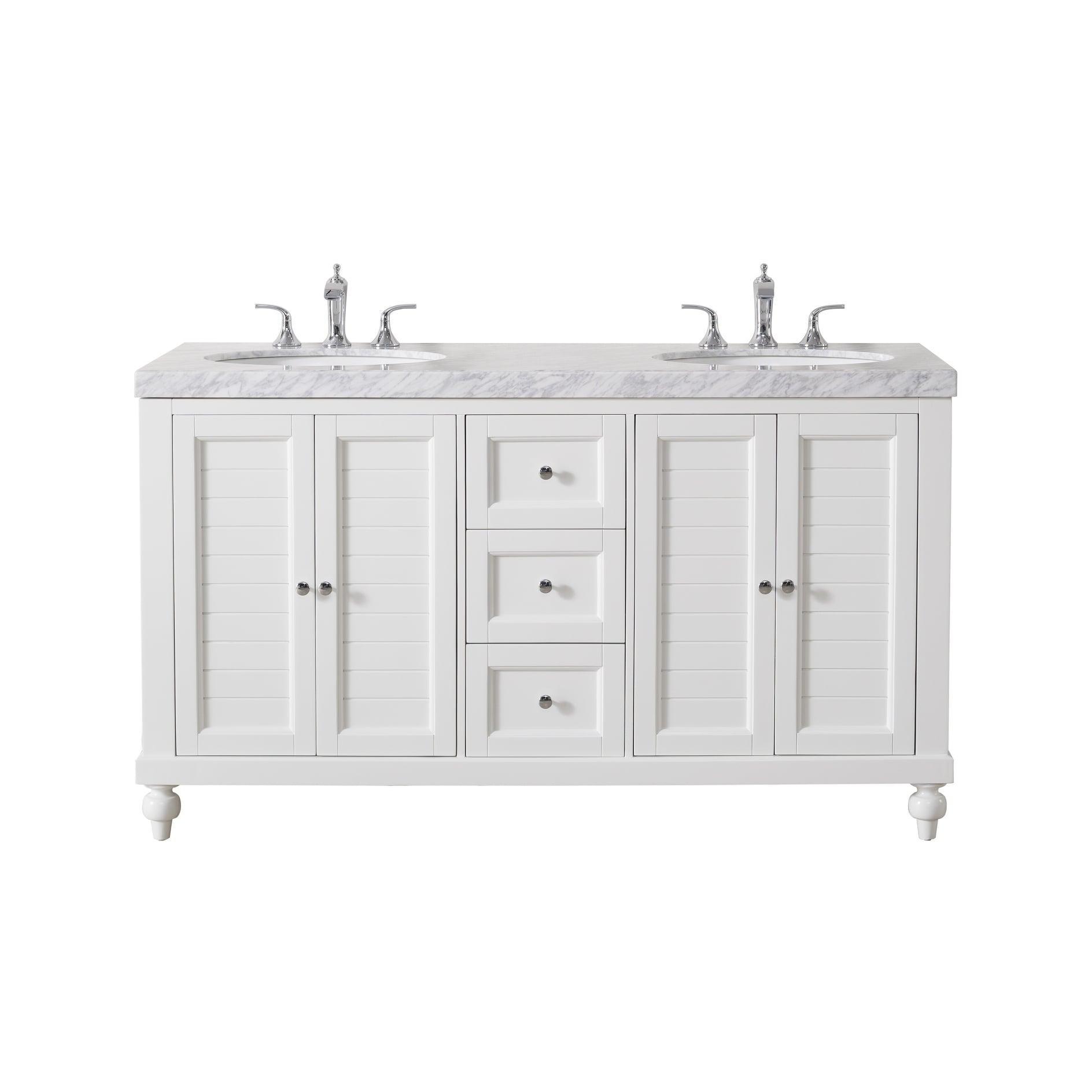 Image of: Shop Black Friday Deals On Stufurhome Kent 60 Inch White Double Sink Bathroom Vanity Overstock 22484935