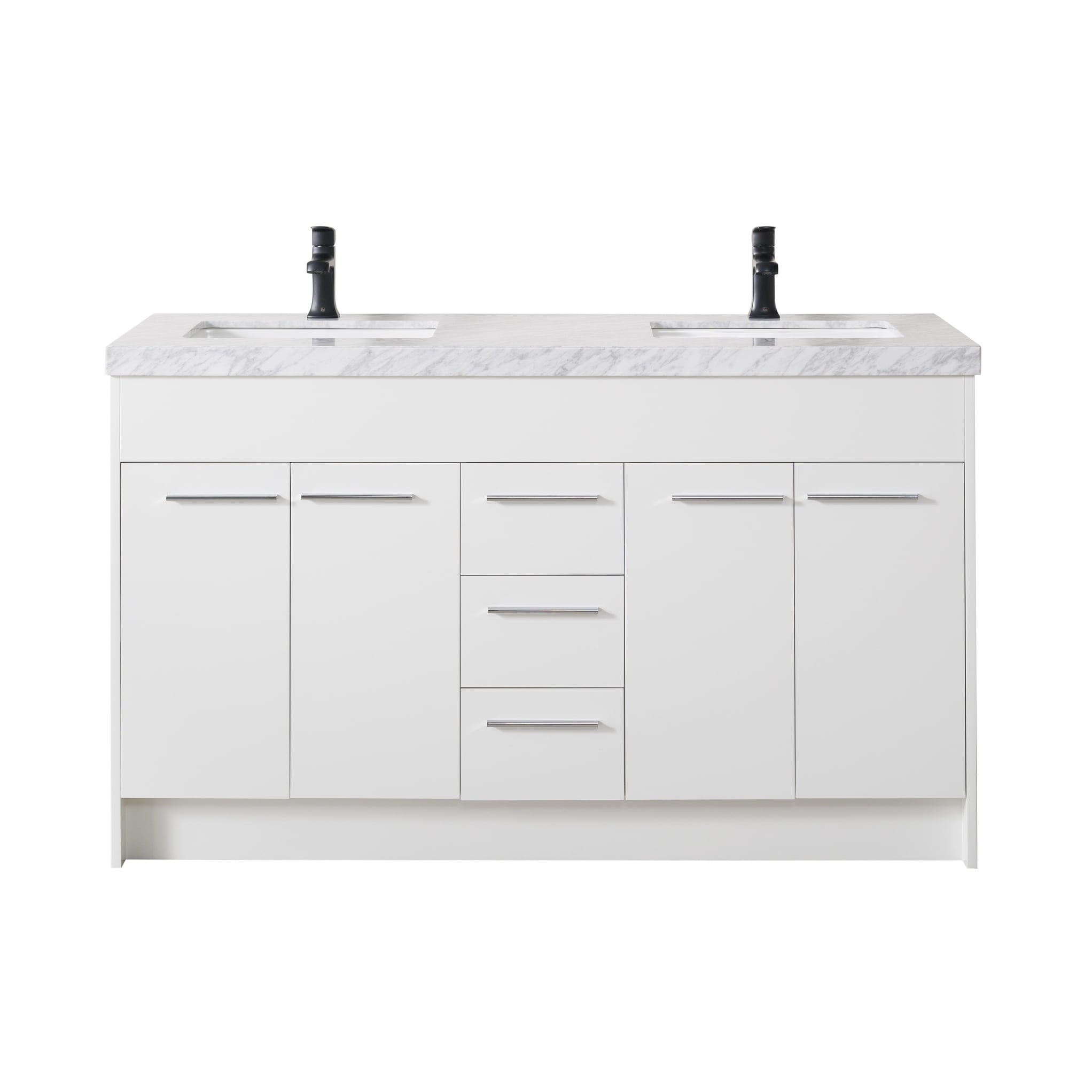 Stufurhome Lotus White Wood Finish Double Sink Bathroom Vanity with Drains and Matte Black Faucets