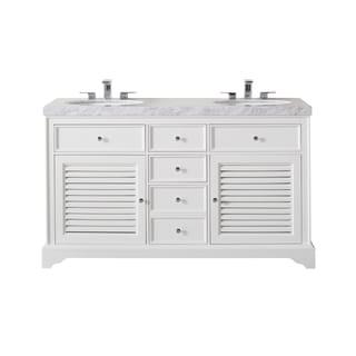 Stufurhome Magnolia 60 Inch White Double Sink Bathroom Vanity