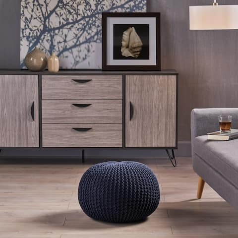 Abena Knitted Cotton Pouf by Christopher Knight Home