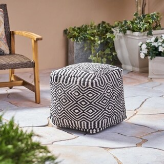 Eaton Outdoor Modern Boho Pouf by Christopher Knight Home