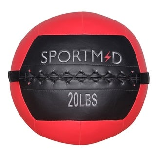 Soft Medicine Ball Wall Ball for CrossFit Exercises Strength Training Cardio Workouts Muscle Building Balance,20LBS, Red&Black