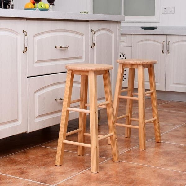 Enjoyable Shop 24 Kitchen Wooden Round Breakfast Counter Chair Bar Pabps2019 Chair Design Images Pabps2019Com