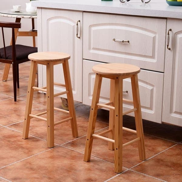 Pleasant Shop 24 Kitchen Wooden Round Breakfast Counter Chair Bar Pabps2019 Chair Design Images Pabps2019Com
