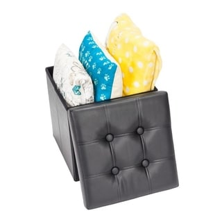 PVC Leather Square Storage Ottoman Stool Folding Organizer (Black)