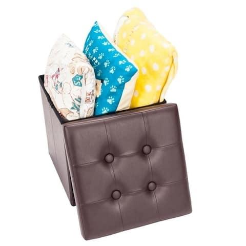 PVC Leather Square Storage Ottoman Stool Folding Organizer