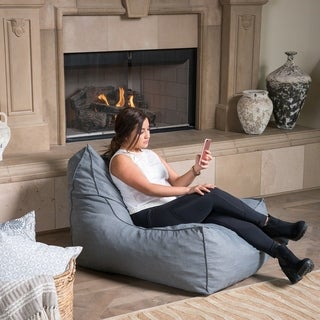 Siarl Indoor Dark Grey Fabric Bean Bag Lounger by Christopher Knight Home