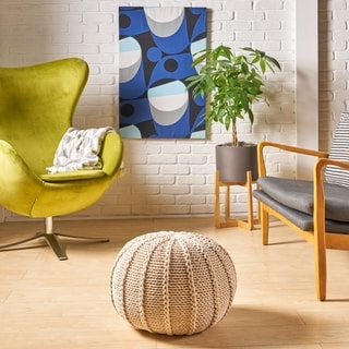 Corisande Knitted Cotton Pouf by Christopher Knight Home