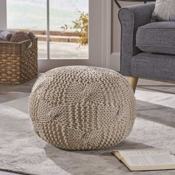 Anouk Knitted Cotton Pouf by Christopher Knight Home. Opens flyout.