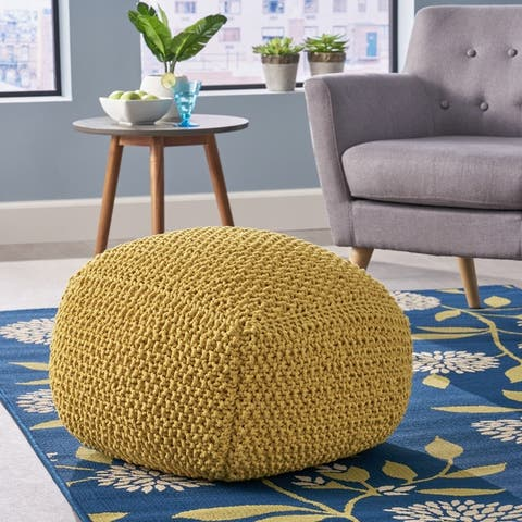 Hollis Knitted Cotton Square Pouf by Christopher Knight Home