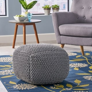 Link to Finch Knitted Cotton Square Pouf by Christopher Knight Home Similar Items in Living Room Furniture