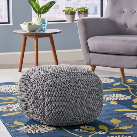 Finch Knitted Cotton Square Pouf by Christopher Knight Home
